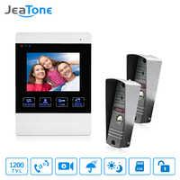 JeaTone 1200TVL Wired Porta Bell 1200TVL Porta Da Frente Da Câmera de Monitoramento de Vídeo Sistema de Interfone Interfone Desbloqueio Falando