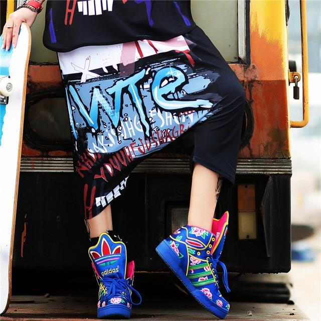 JUST.BE.NEVER women hip hop harem pants black letter printed harajuku Kawaii  Cotton Summer Loose Skateboard girls cropped pants fd9b0a56b360