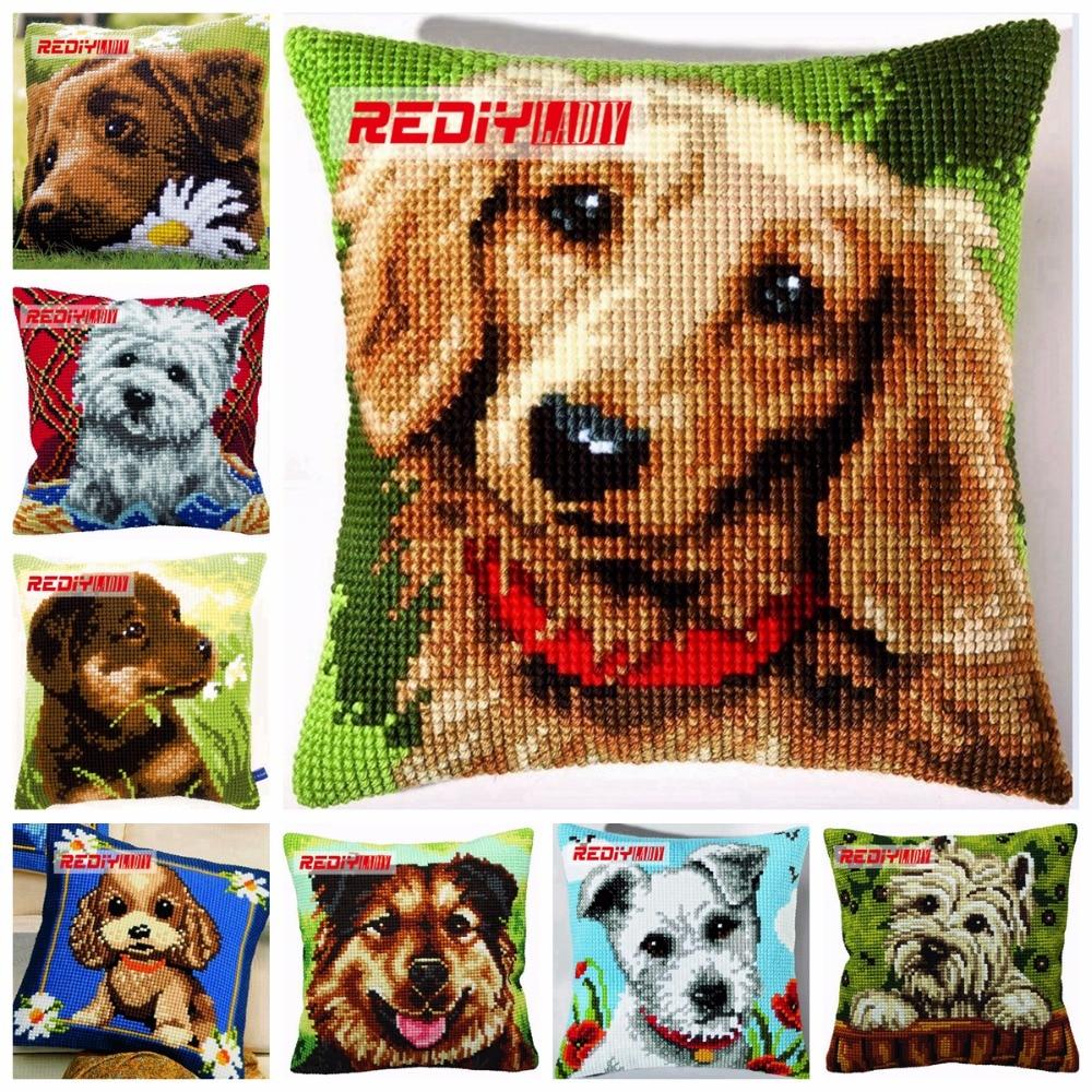 Вышивка крестом собаки подушка