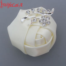 Wifelai-Murah Crystal Bros Pernikahan Bouquet Dekorasi Kancing Satin Rose Groom Korsase Bros Bunga Pin X1107(China)