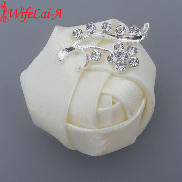WifeLai-A Cheap Crystal Brooch Wedding Bouquet Decor Boutonniere Satin Rose Groom Corsage Brooch Flower Pin X1107
