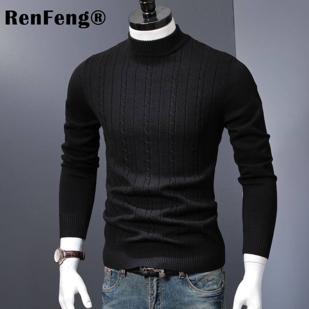 Korean Stretched Thick Warm Men Turtleneck 2018 Winter Mens Sweaters Pullovers Knit Long Sleeve Cashmere Sweater Male Jumper Top (5)