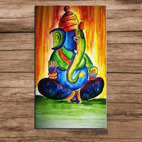 Hand painted ganesha india classic lord oil painting on canvas animal elephant modern abstract art oil painting for home decor