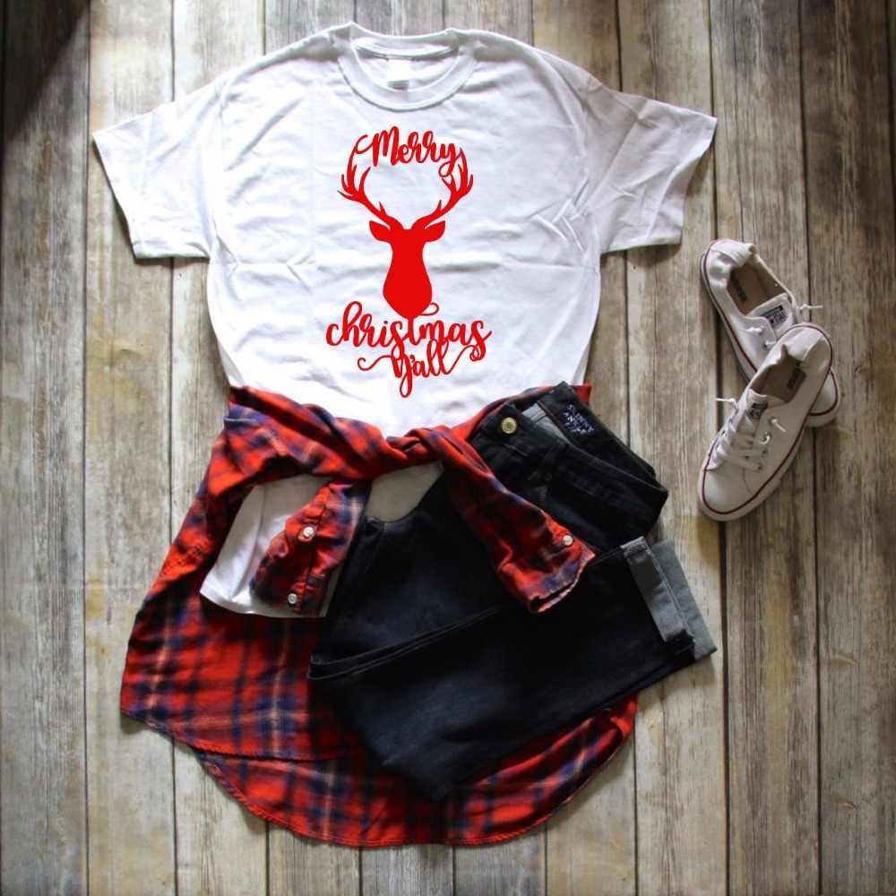 Slogan engraçado Do Presente Do Feriado Festa Estilo Tumblr Tee Causal Camisa Estética Camisetas Encabeça VEADOS MERRY CHRISTMAS YALL T-shirt Gráfico