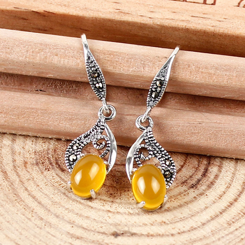 Vintage silver earings fashion jewelry 2016 Retro luxury earrings for women Chalcedony Agate Gem Silver 925