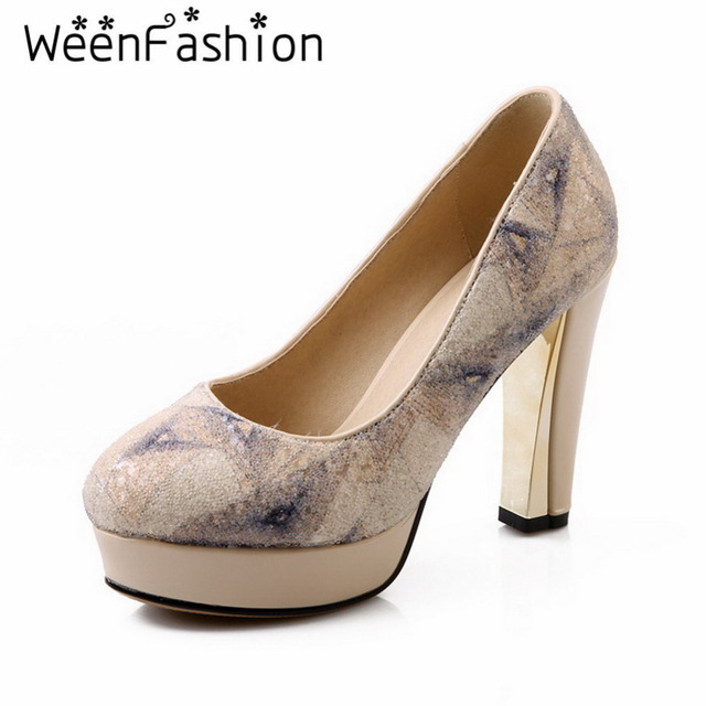 WeenFashion Rainbow Colors Platform Pumps Fashion Women Round Toe High Heel Shoes Ladies Slip-On Thick Heel Dress Shoes Party