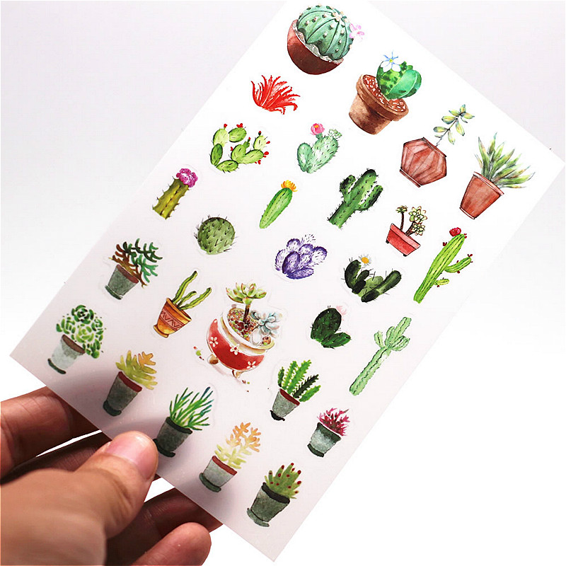6PCS/ Set Mini Cute Kawaii Cartoon Plant Notepad Sticky Notes Notebook Stationery Stickers Children Stickers Office Supplies