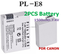 2 pçs/lote 1500 mah bateria para canon lp-e8 lpe8 eos 550d 600d 650d 700d câmera digital baterias recarregáveis carregador de bateria