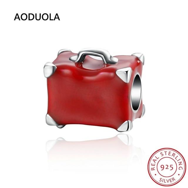 925 Sterling Silver Beads Esmalte Vermelho Mala Boa Sorte Viagem bolsa Bead Big Hole DIY Charme Fit Para Charms Pandora pulseira