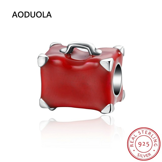 925 Sterling Silver Beads Red Enamel Suitcase Good Luck Travel Handbag Bead Big Hole DIY Charm Fit For Pandora Charms Bracelet