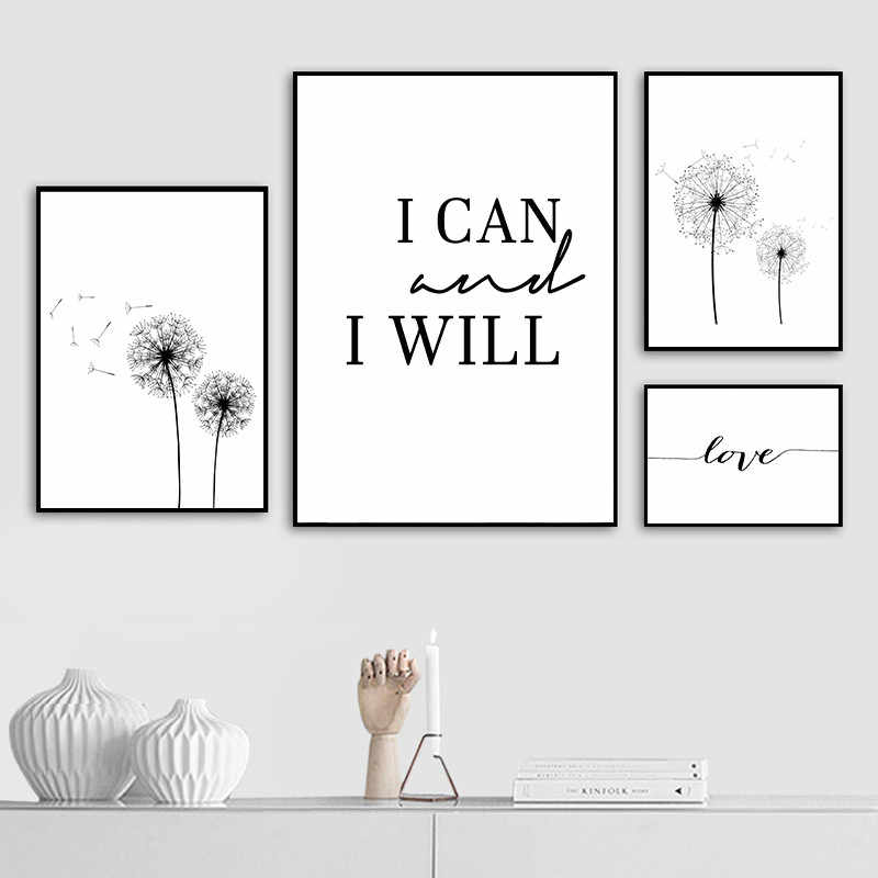 Nordic Minimalist Abstract Dandelion Art Painting Canvas Prints Black White Love Quotes Posters Wall For Living Room Decor AL144