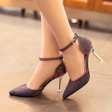 Free shipping summer shiny pointed toe women's ankle strap wedding shoes thin heels sexy shallow mouth single shoes