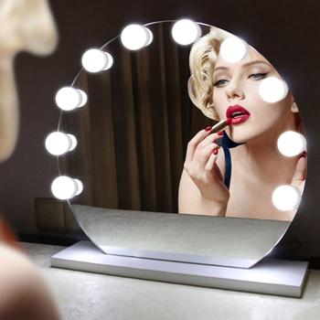Konesky Hot Hollywood Vanity Lights 10 żarówek lustro do makijażu bezstopniowa ściemniająca lampa nocna makijaż toaletka lustro wtyczka żarówka tanie i dobre opinie Lampki nocne ROUND REEDBUCK 12 v Ogniwo suche NONE Super Cute Rabbit Night Light W nagłych wypadkach Żarówki LED PRZEŁĄCZNIK