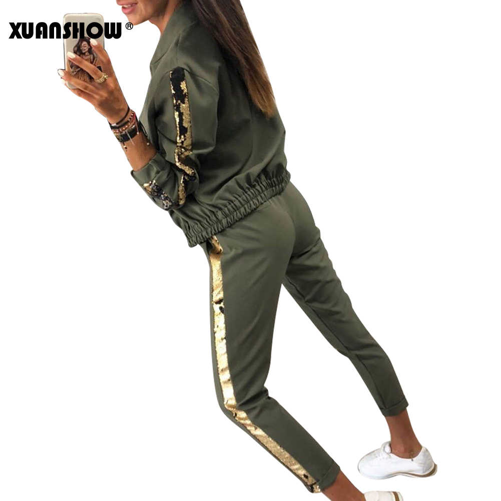 Xuanshow Trainingspak Vrouwen Fashion Casual Sequin Sportkleding Pak Vest Lange Broek Tweedelige Set Outfits Chandal Mujer