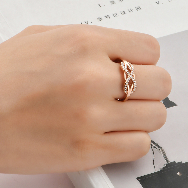 KNOCK high quality Fashion Micro Inlayed Cross Rings For Women Wedding Cubic Zircon CZ Crystal Ring Rose Gold Color 5