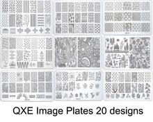 QXE Image PlateS for stamping nail art stencil template metal 60*120MM various patterns flowers full cover lace rectangle