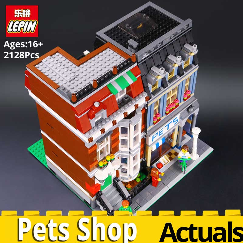 LEPIN CREATOR series 15009 City Street Pets Shop Model Toys Building Blocks legoed building 10218 Toys For Children Souptoys fun 283pcs starbucks coffee shop model building blocks street view shop manager figures compatible legoed city educational toys kids