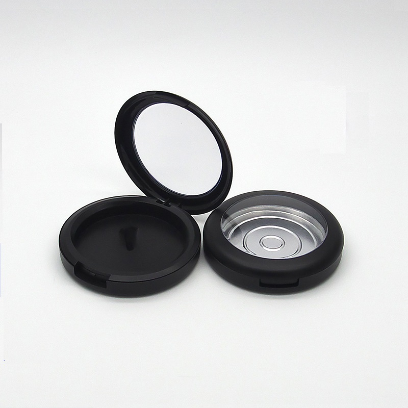 59mm Empty Cosmetic Blusher Eyeshadow Powder Case Makeup Packaging Container Matte Black Clear Cap Cosmetic Compact