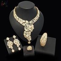 Yulaili Jewelry Sets Nigerian Wedding African Beads Jewelry Set Women Gold Color Jewerly Sets Italian Egyptian Costume Jewelry