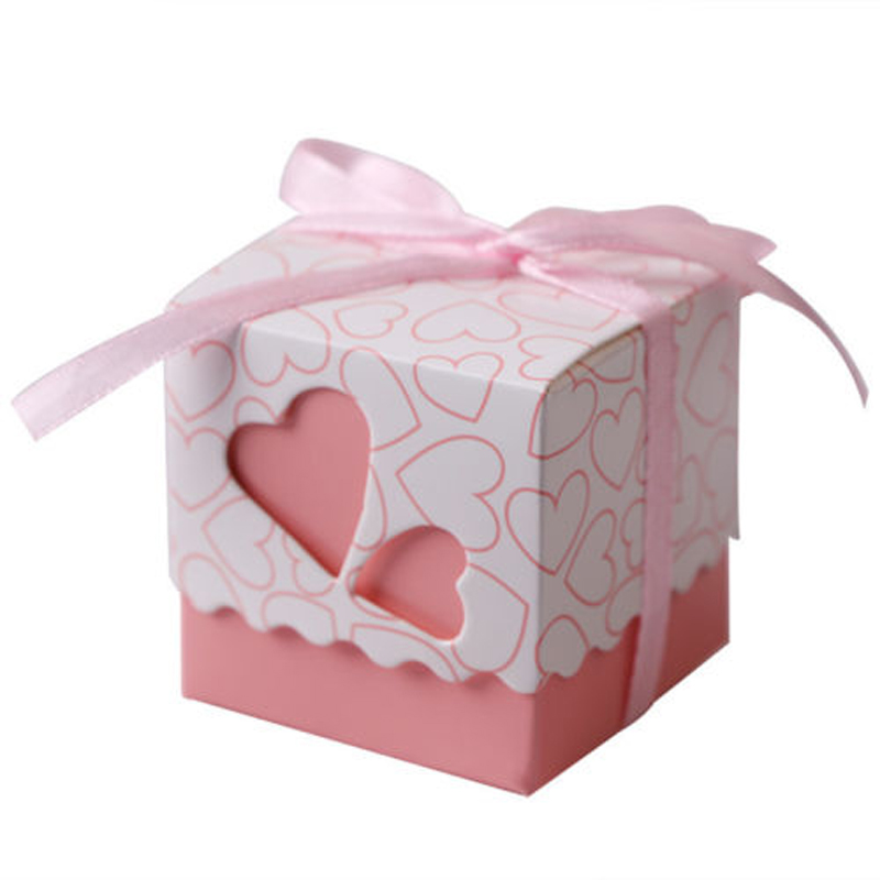 10/50/100Pcs Love Heart Candy Boxes Wedding Favor Party Gift Boxes With Ribbons Gift Box