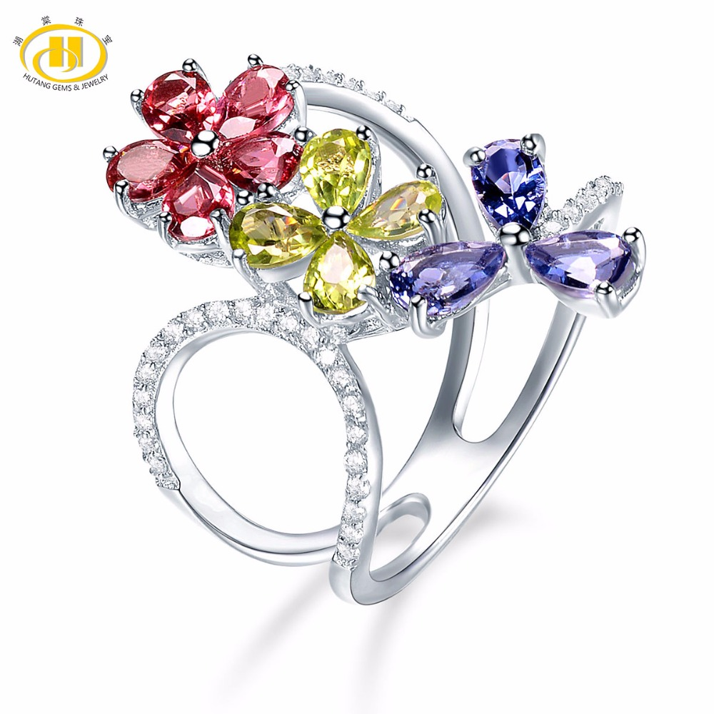 Hutang Engagement Rings Natural Multi Gemstone Garnet Peridot Iolite 925 Sterling Silver Ring Flower Fine Jewelry Presents Gift