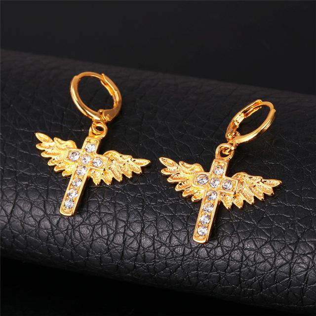 18k Real Gold Plated Cross Angel Wing Earrings