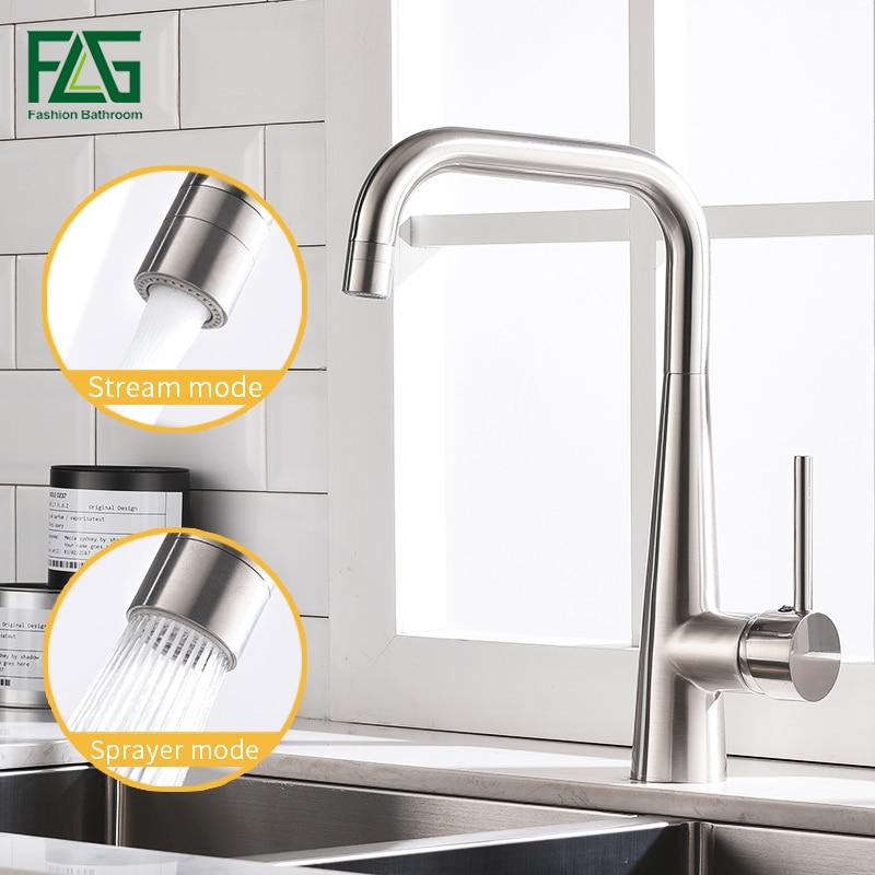 FLG Pias de Cozinha Latão Níquel Escovado Torneira Giratória 360 2 Função Saída de Água Mixer Fria e Quente Mixer Água Tap 1012-33N