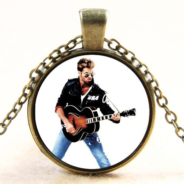 US $1 3 |George Michael Faith 80s Guitar Singer_Silver&Bronze Glass  Necklace For Fans LY113-in Pendant Necklaces from Jewelry & Accessories on