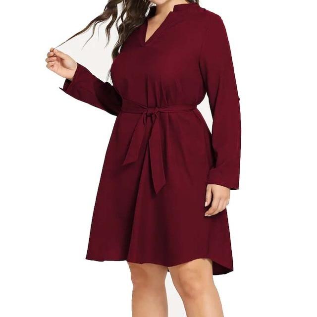 New Fashion Plus Size 5XL XXXXL Chiffon Casuall Dress XXXL Three Quarter Sleeve V-neck Dresses with belt