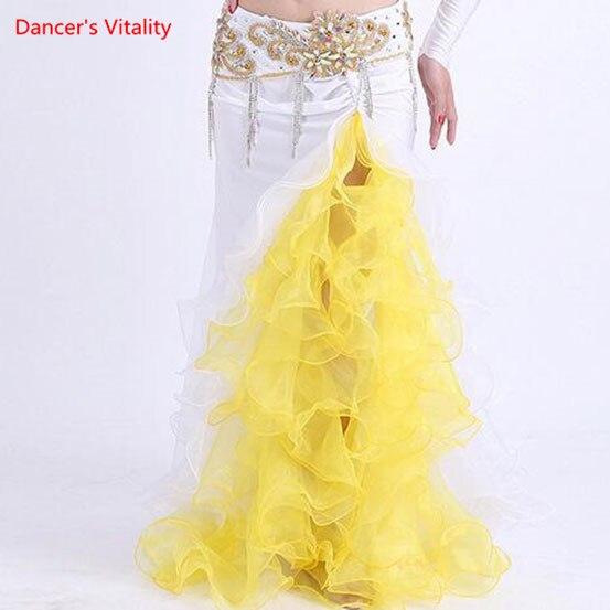 Image 5 - Женская цветная юбка с Боковым Разрезом, платье для танца живота, костюм для Хэллоуина, костюм для танца синего, розового, белого цветов, два цвета, бесплатная доставкаТанец живота    АлиЭкспресс