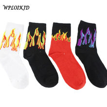 Men Hip Hop Design Red Yellow Flame Crew Socks Lifelike Jacquard Fire Socks Classic Street Skateboard Cotton Long Unisex Socks(China)