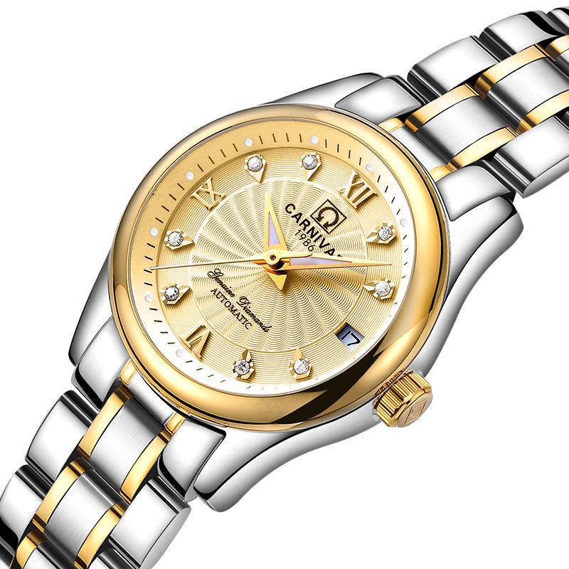 Carnival Women Watches Luxury Brand ladies Automatic Mechanical Watch Women Sapphire Waterproof relogio feminino C-8830-7 2017 carnival luxury brand mechanical watch women leather bracelet waterproof sapphire mirror stainless steel automatic watches