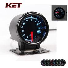 """KET """" 52 мм Универсальный Автомобильный 12 в 7 цветов датчик давления масла манометр светодиодный датчик с датчиком бар PSI Автомобильный манометр"""