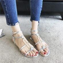 bede2a3e34d Sandalias de verano femenino 2018 nuevo fondo plano estudiantes simples  zapatos de las mujeres coreanas salvaje con correas pies.