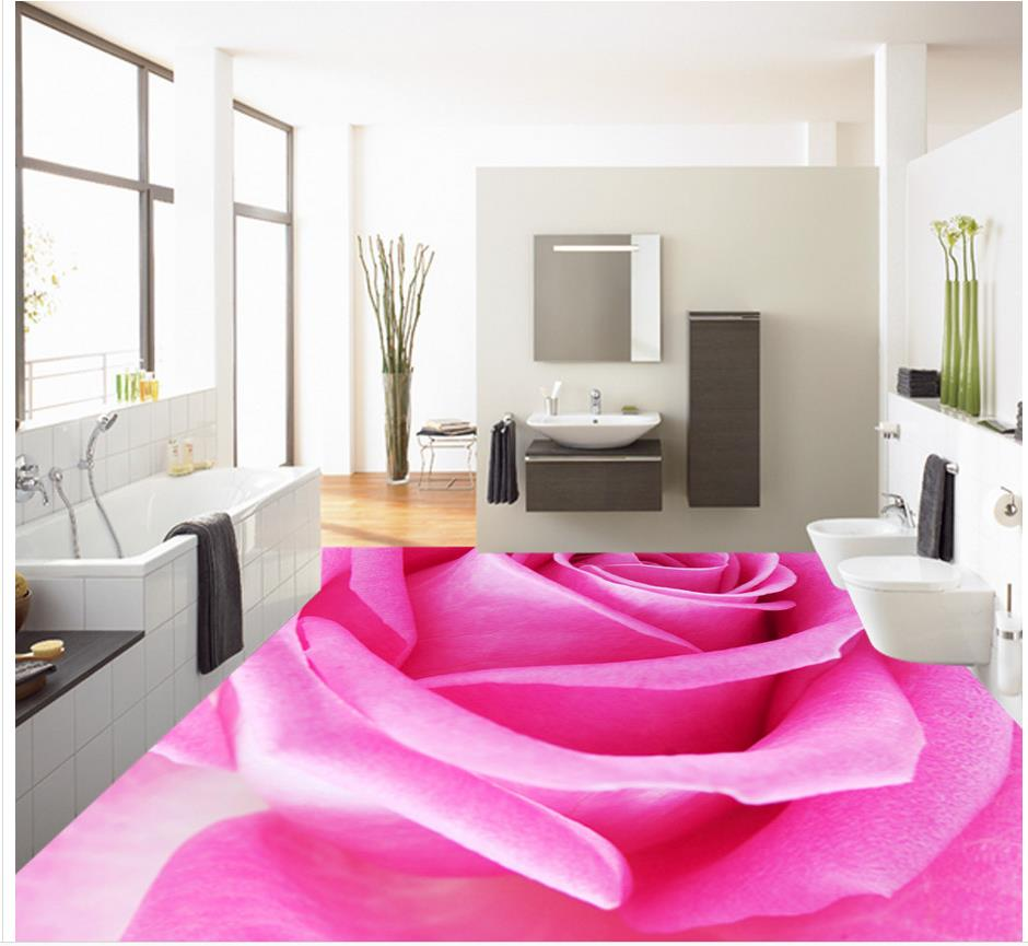 ФОТО 3d customized wallpaper Home Decoration Pink rose fashion 3D floor pvc wallpaper 3d floor 3d wallpaper