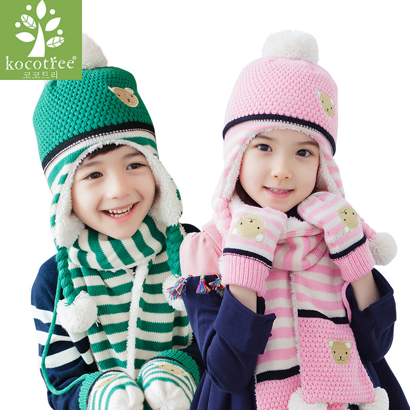 Kocotree Kids Hats Animal Bear Printing Cotton Children Caps 1-10 Years Boys Girls Hat Scarf 2pcs Set Brand Kids Winter Hat
