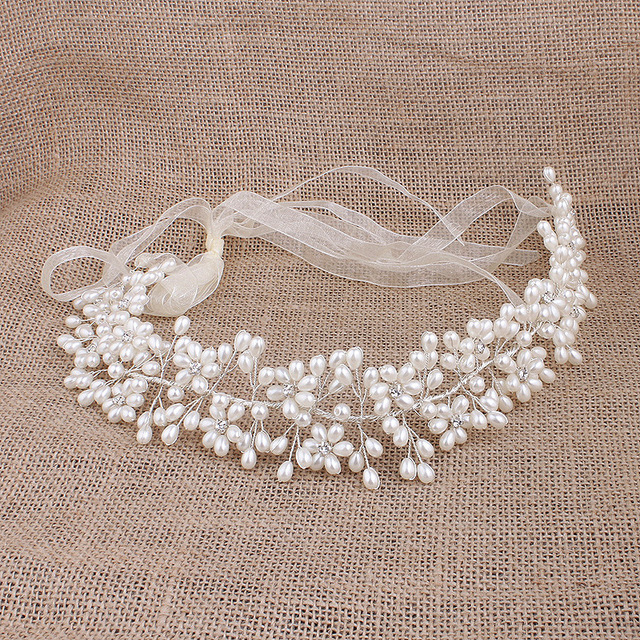 Mujeres Blanco Imitación Perla Flor de Boho Tiara Nupcial Hairband Head Accesorios Para El Cabello Joyería De La Boda Regalos Nupciales Del Organza