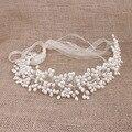 Mulheres Imitação Branco Pérola Flor Tiara Boho Cabeça Nupcial Jóias Acessórios de Cabelo Para Presentes de Casamento de Noiva Organza Hairband
