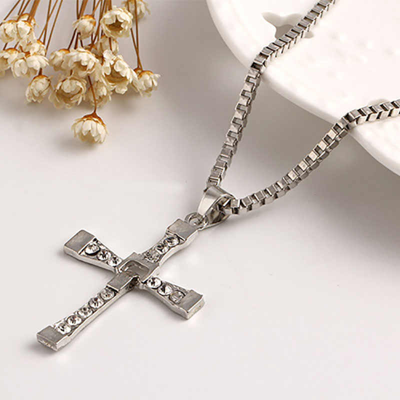 Cross Necklace Silver Cubic Zirconia Rhinestone Crystal Pendants Charm Link Chain Statement Choker Men Wome Jewelry Accessories