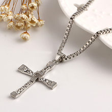 Cross Necklace Silver Cubic Zirconia Rhinestone Crystal Pendants Charm Link Chain Statement Choker Men Wome Jewelry Accessories(China)