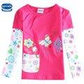 2015 nova niños ropa floral bordado con bolsillo de manga larga de las muchachas camiseta nova niñas de alta calidad camiseta al por menor
