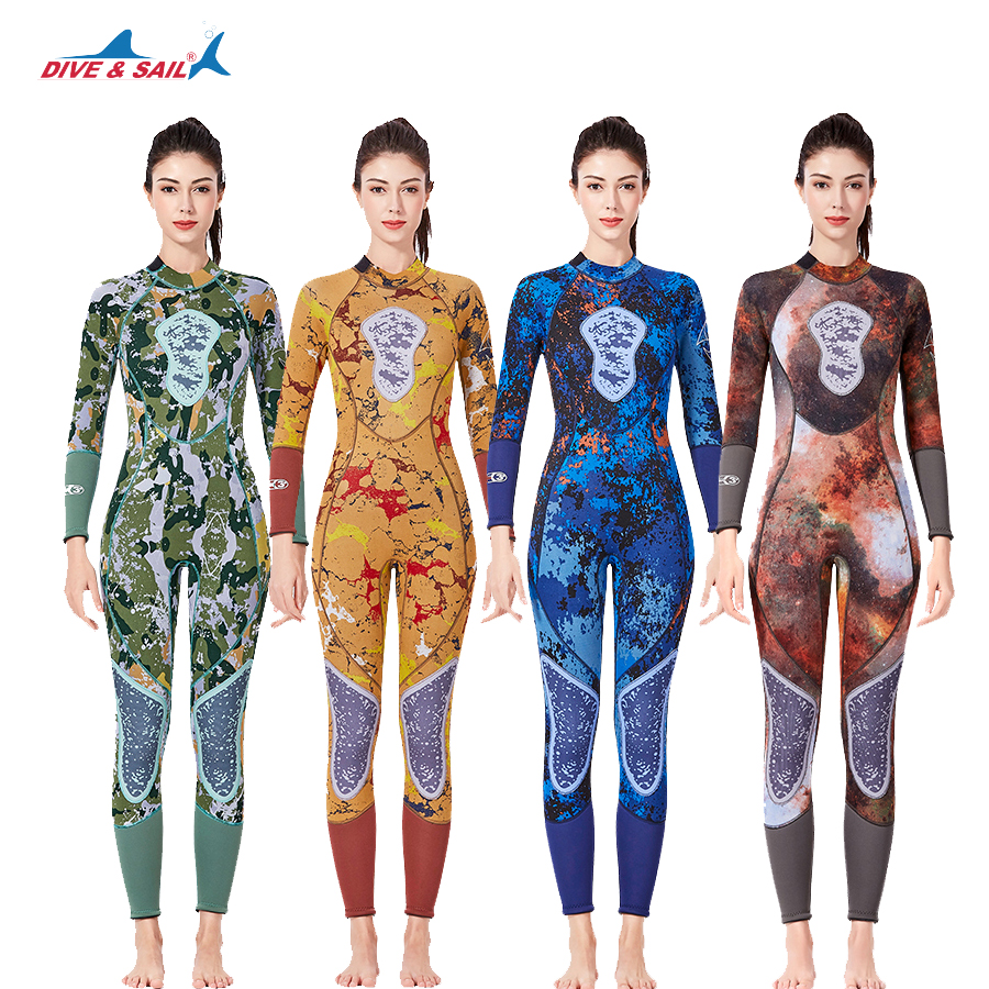 2019 New Women 3MM Neoprene Diving Wetsuit  Girl  High Elastic Surfing One-piece WetSuits Full Body Diving Wet Suit Winter
