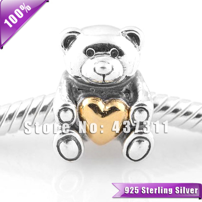 New Arrival Teddy Bear with Gold-plated Heart 925 Sterling Silver Charm Pendant Bead Suitable for European Bracelet Making LW282