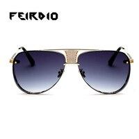 Feirdio Trendy Female Men Glasses Oversize Metal Goggle Vintage Trend Gradient Big Lentes Oculos Uv400 Summer Fishing Driving