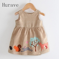 Hurave 2017 Cartoon Girls Dress Kids Clothing Corduroy Children Summer Fashion New Brand Dress Princess Baby