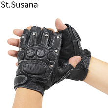 Genuine leather gloves male sports rivet fitness semi-finger lucy refers to sheepskin gloves цена 2017