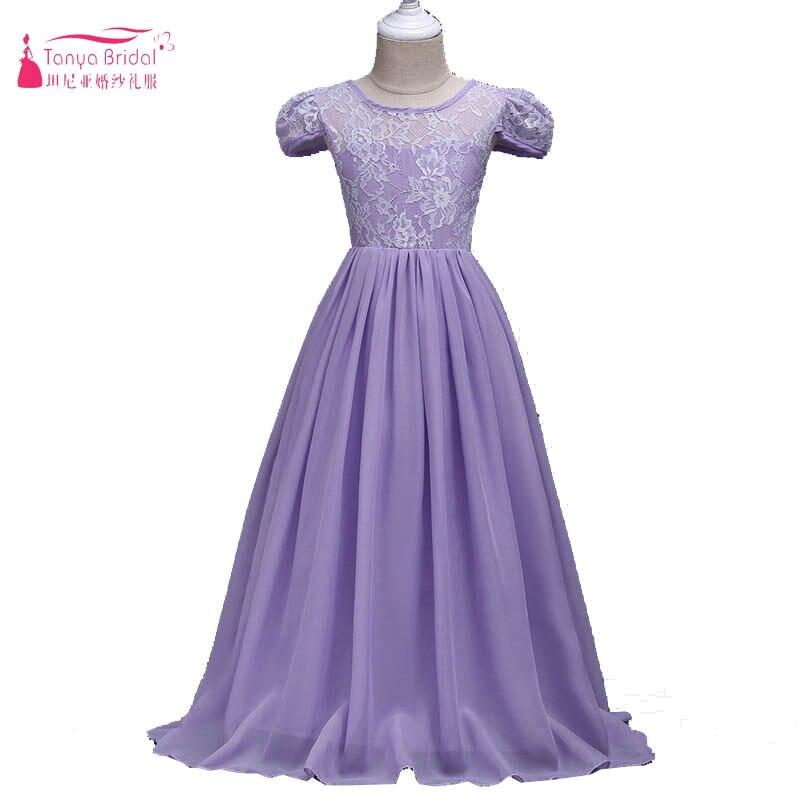 Laverder A Line Chiffon   Flower     Girls     Dresses   Cap Sleeve Lace robe mariage enfant 2018 Wedding Guest   Dresses   pageant   dress   ZF023