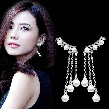 Neue Mode Hohe-qualität Ohrringe Silber sterling 925 Großhandel Übertreibung Quaste Perle Ohrringe 2020 Drop Ohr Ringe Für Damen