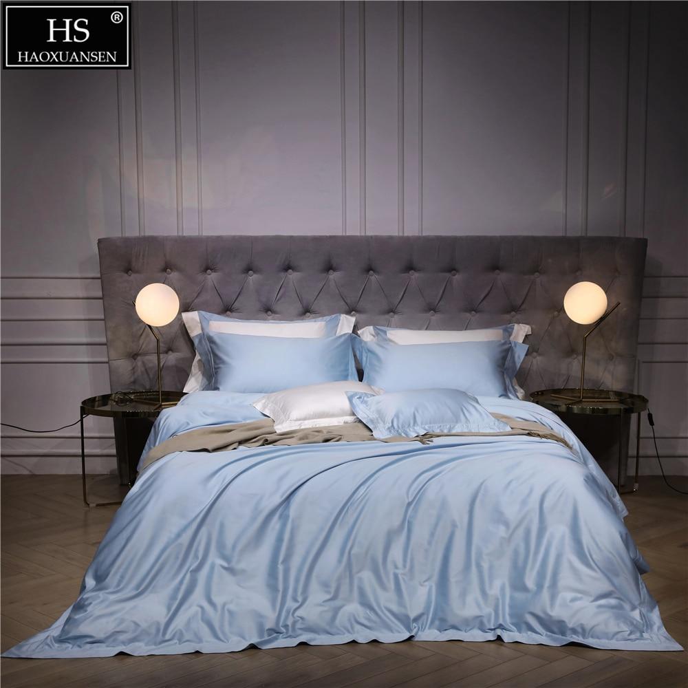 140S Egyptian Sky Blue Luxury Modern Bedding Set 4Pcs King Queen Bed Sheet Duvet cover Pillow shams Simple Bright Hollow 1000TC