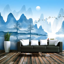 Custom wallpaper murals simple modern blue ink landscape bedroom wall - high-grade waterproof material